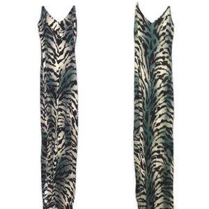 Animal print maxi length strap dress zipper back